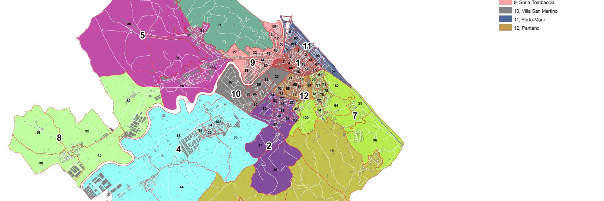 Mappa dei dodici quartieri