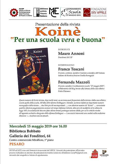 Presentazione della rivista «Koinè. Per una scuola_locandina