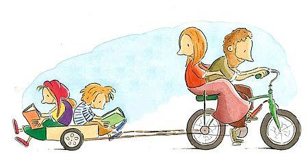 Particolare immagine di Peter Carnavas di un libro raffigurante genitori e bambini in bicicletta