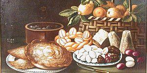 Natura morta con dolci, frutta, uova e formaggi, Pesaro Musei Civici