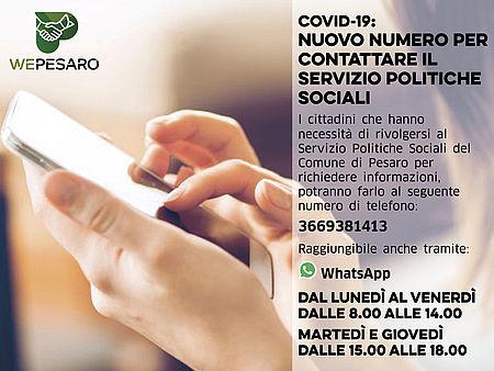 Locandina con numero del servizio politiche sociali