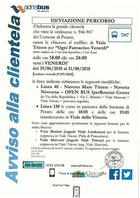 Indicazioni deviazione percorso Viale Trieste
