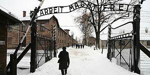 viale innevato cancelli di Auschwitz