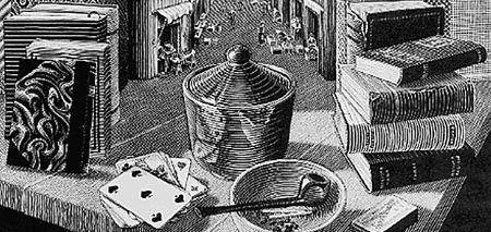 Immagine di oggetti e libri davanti ad una via