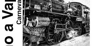 locandina con treno a vapore