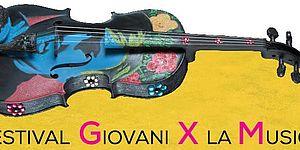 logo festival giovani per la musica con violino colorato