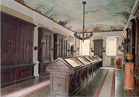Sala dei mappamondi Biblioteca Oliveriana