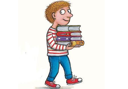 Particolare copertina di un libro raffigurante un bambino con quattro libri che cammina