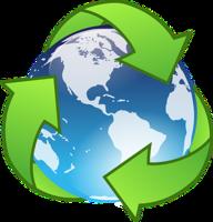pianeta con attorno tre frecce verdi che simboleggaimo il riciclo