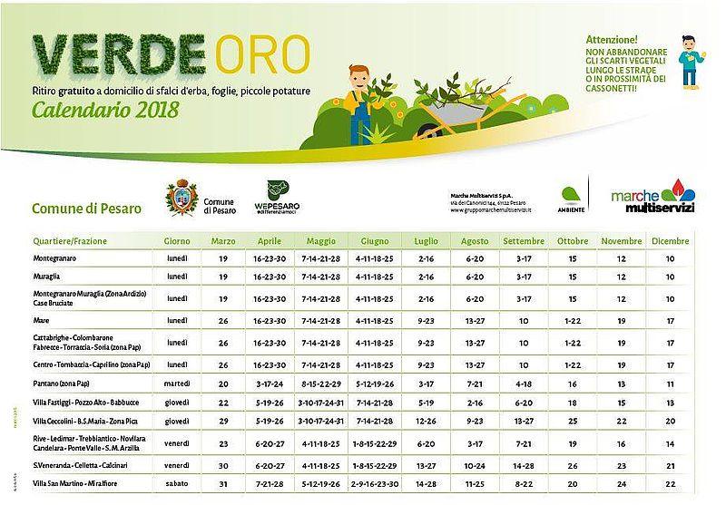 In Un Quartiere Di Una Citta Il Calendario Della Raccolta Differenziata.Comune Di Pesaro Verdeoro Calendario 2018