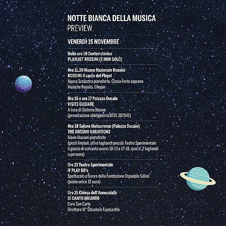 NOTTE BIANCA DELLA MUSICA. OGGI 15 NOVEMBRE