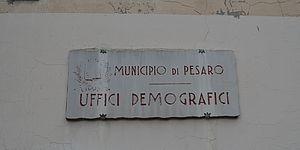 Insegna dell'ufficio dei servizi demografici