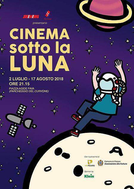 locandina Cinema sotto la luna 2018, cielo blu scuro stellato con terra e luna e astronauta