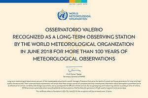 Certificato dell'Organizzazione Meteorologica Mondiale