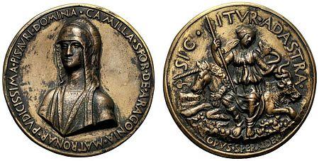 Moneta raffigurante Camilla d'Aragona