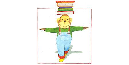 Disegno di una scimmia con dei libri