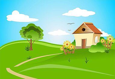 Immagine di casa con prato e albero