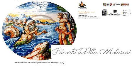 immagine tratta dalla locandina  il mito di Glauco e Scilla in un piatto maiolicato (Urbino ca., 1570)