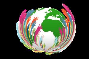 Disegno del mondo avvolto in tante mani colorate