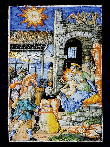 Adorazione dei Magi, Urbino metà XVI secolo maiolica. Pesaro Musei Civici