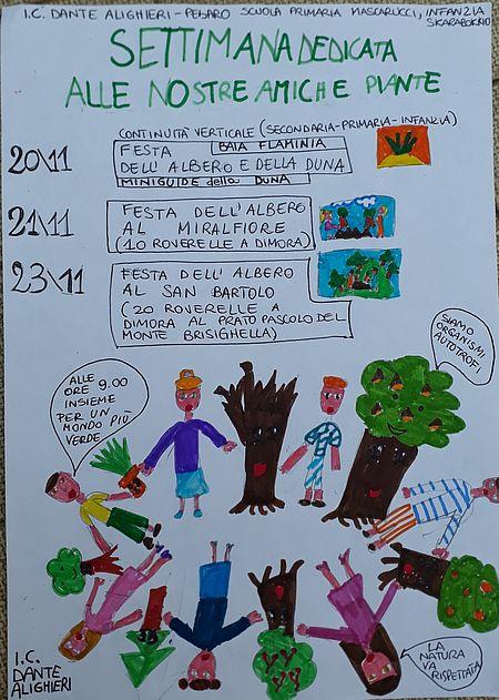 Disegno della festa dell'albero e delle dune