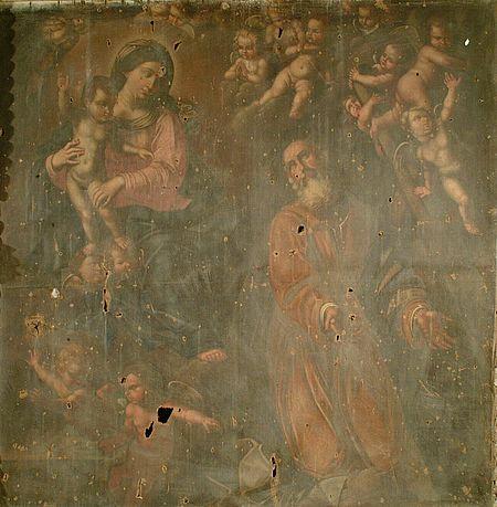 'La Madonna col Bambino San Giuseppe e teoria di putti' di pittore marchigiano