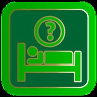 logo verde che indica dove dormire con ?