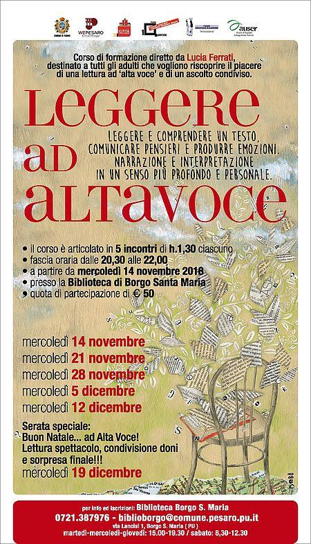 Locandina corso di lettura ad alta voce_Bibl Borgo Santa Maria