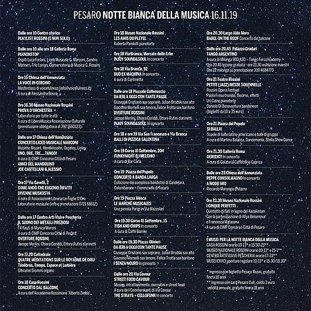 NOTTE BIANCA DELLA MUSICA. OGGI 16 NOVEMBRE