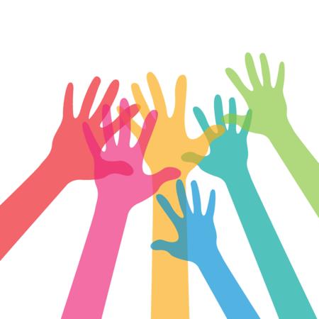 Disegno numerose mani in alto insieme
