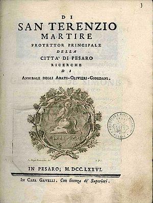 Annibale Olivieri Di San Terenzio martire..