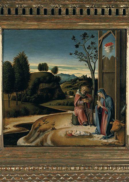 Giovanni Bellini, part. con Adorazione del Bambino predella della Pala dell'incoronazione della Vergine