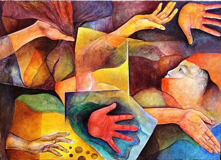 Disegno artistico con mani tese