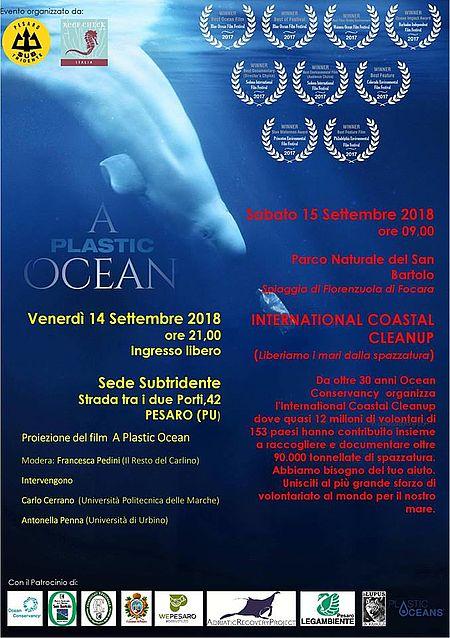 locandina iniziativa a Plastic Ocean