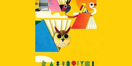 Particolare immagine di Philip Giordano di un libro raffigurante animali libri e un bambino