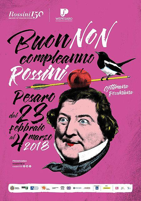 manifesto con caricatura Rossini