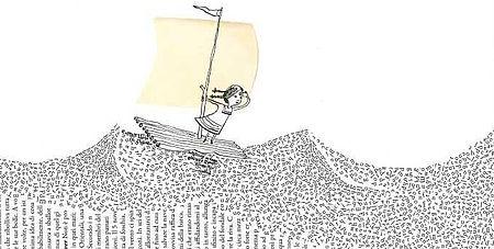 Disegno di una zattera che naviga sopra le parole