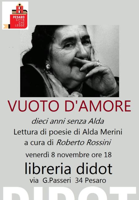 Vuoto d'amore, dieci anni senza Alda. Libreria Didot