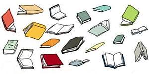 Illustrazione di libri che volano realizzata da Guido Scarabottolo