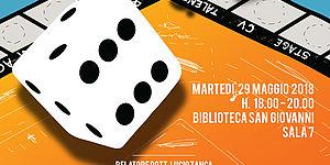 Due dadi su cartellone da gioco da tavolo arancione