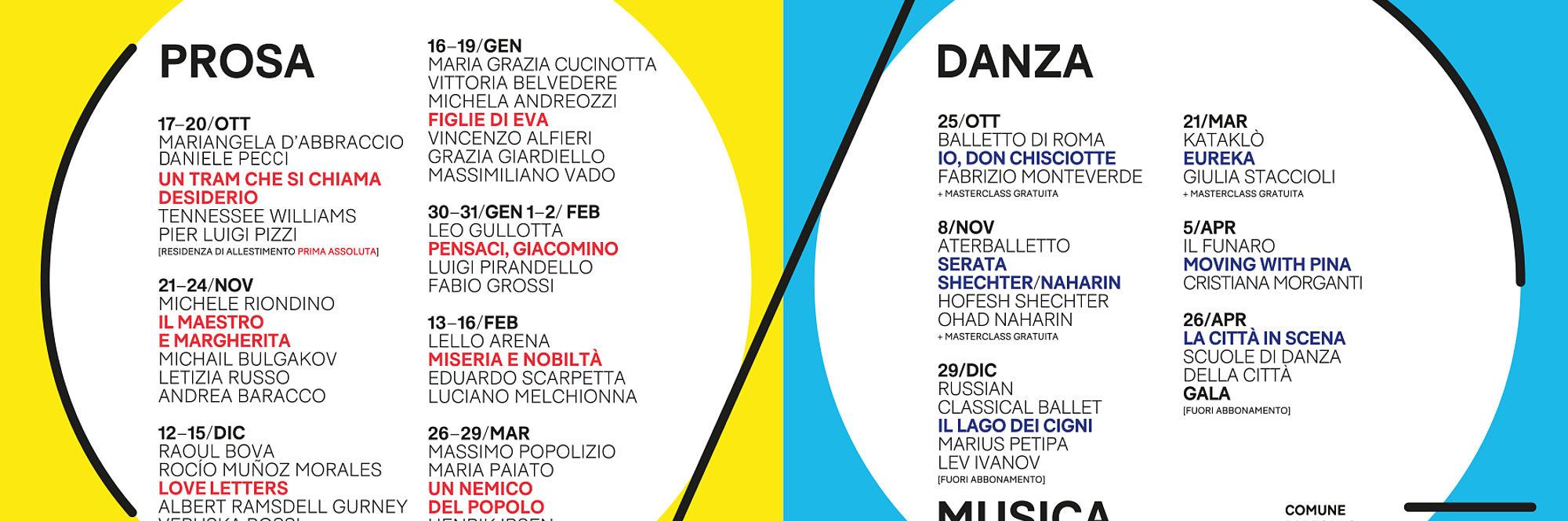 Stagione Prosa e danza 2019 2020