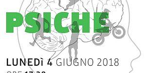 Sfondo con cervello con simboli grigi di vari sport e sopra titolo verde Sport e Psiche