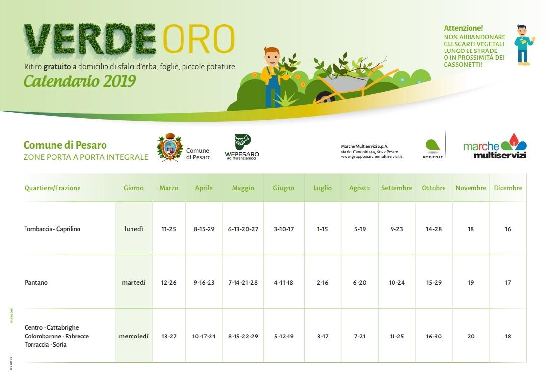 Calendario VerdeOro a Pesaro anno 2019
