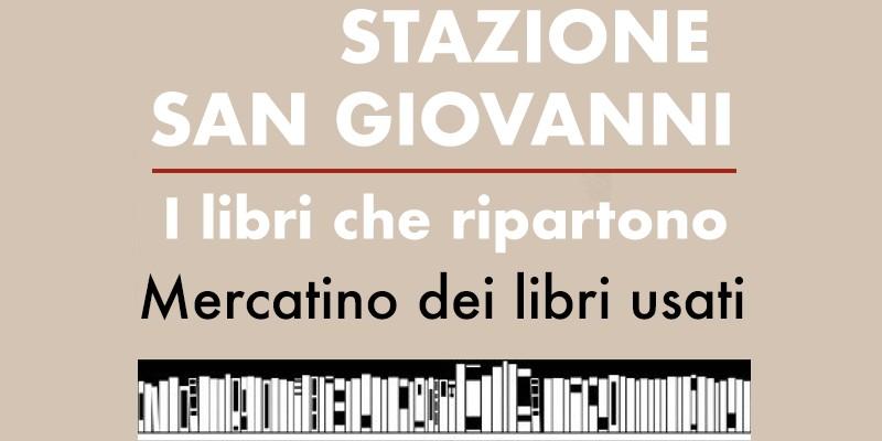particolare locandina con testo e immagine scaffale con libri