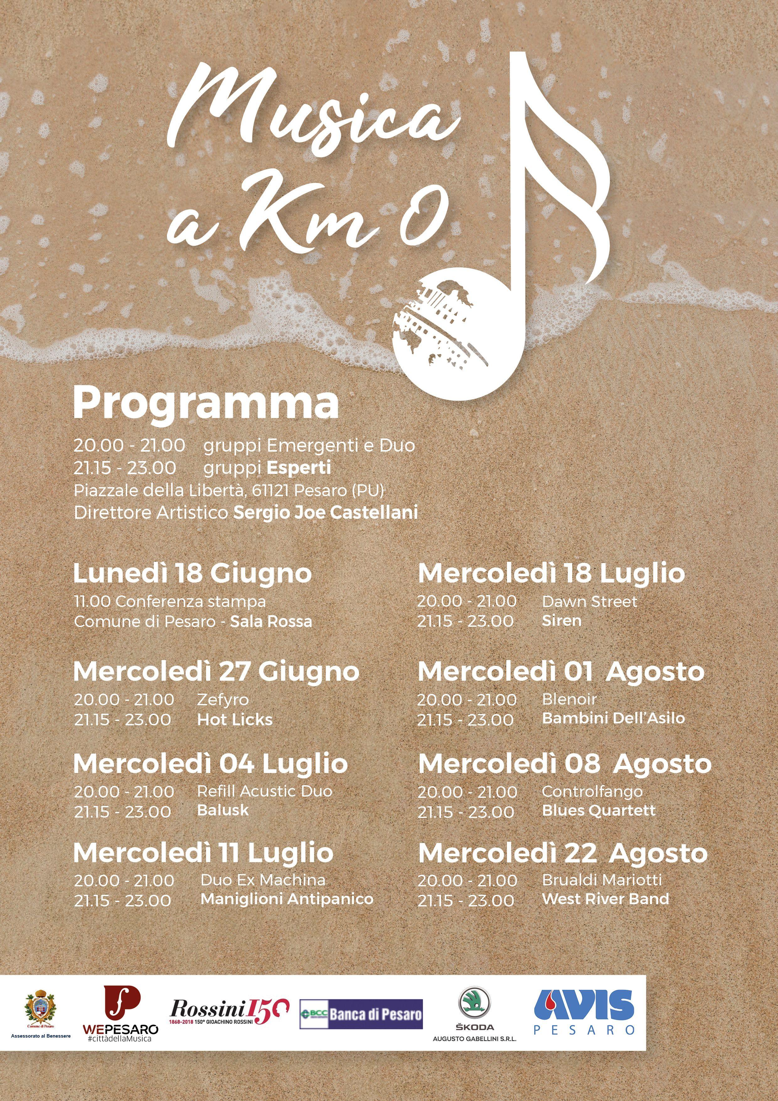 Musica a Km 0 con scritta bianca con accanto nota musicale con Palla del Pomodoro stilizzata