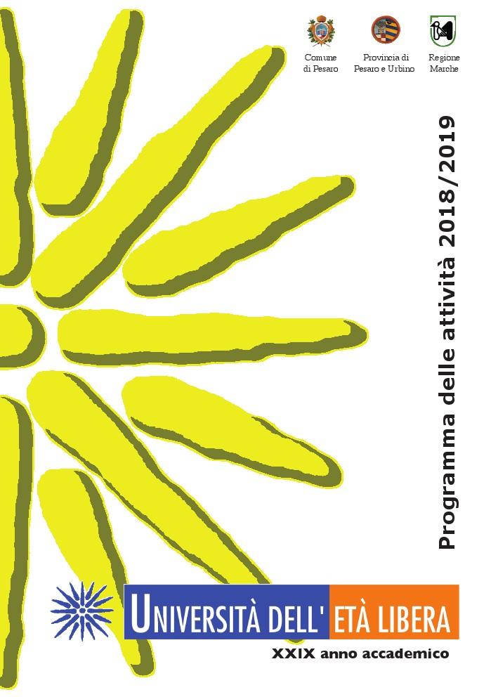 """unilibera copertina programma con un metà """"sole"""" stilizzato color giallo su sfondo bianco"""