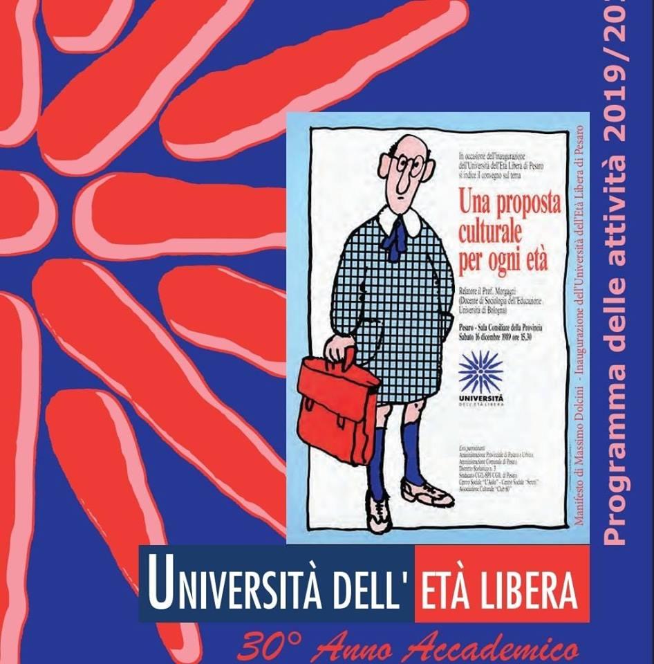 copertina blu e rossa programmi corsi 2019/2020 Università Età libera