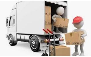 due omini stilizzati che caricano in un camion uno scatolone