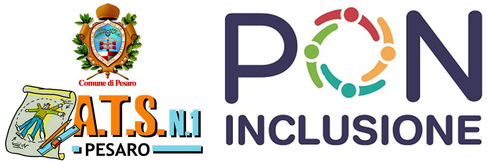 Logo del Comune di Pesaro, ATS n.1 e PON inclusione