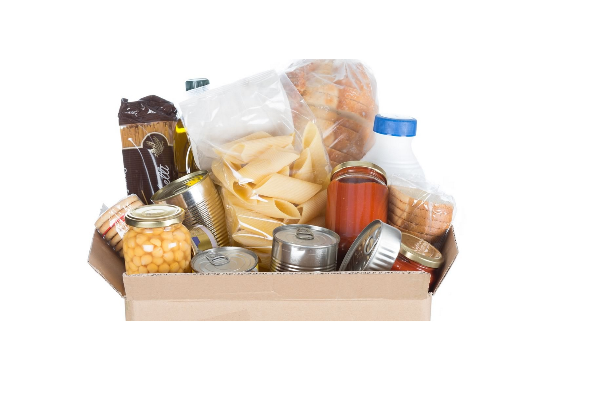 Scatolone della spesa con prodotti senza etichetta